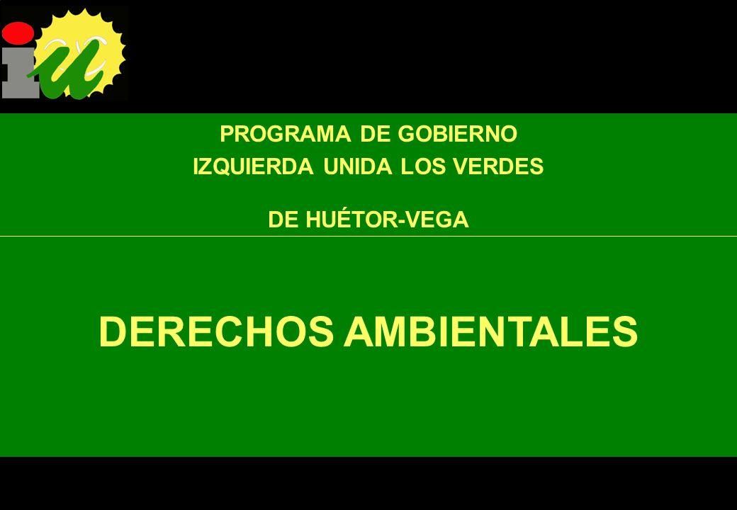 PROGRAMA DE GOBIERNO IU de Huétor-Vega actuará firmemente en defensa de los DERECHOS de todos los ciudadanos: Derechos sociales y culturales Derechos