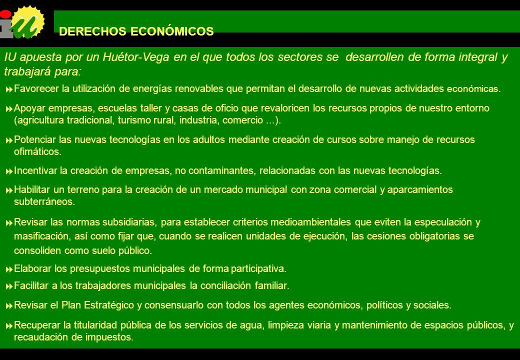 PROGRAMA DE GOBIERNO IZQUIERDA UNIDA LOS VERDES DE HUÉTOR-VEGA DERECHOS ECONÓMICOS