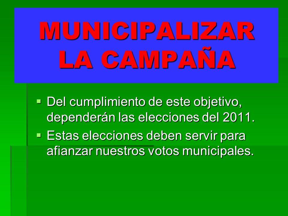MUNICIPALIZAR LA CAMPAÑA Del cumplimiento de este objetivo, dependerán las elecciones del 2011.