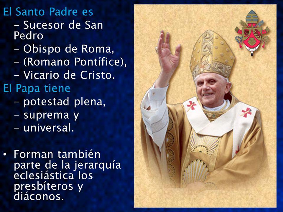 El Santo Padre es - Sucesor de San Pedro - Obispo de Roma, - (Romano Pontífice), - Vicario de Cristo. El Papa tiene - potestad plena, - suprema y - un