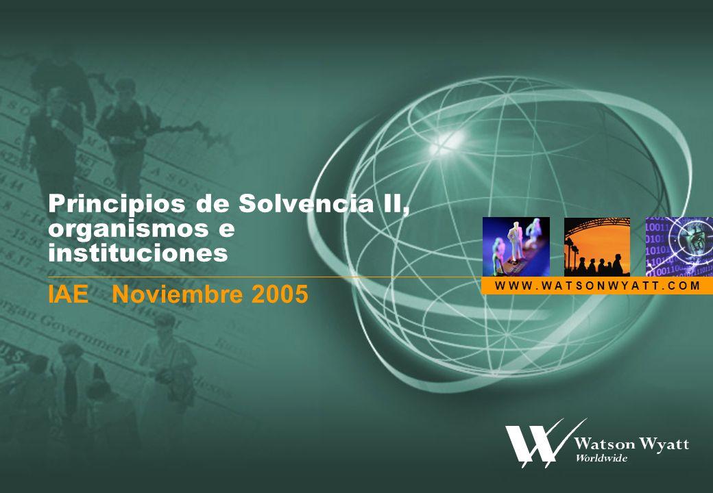W W W. W A T S O N W Y A T T. C O M Principios de Solvencia II, organismos e instituciones IAE Noviembre 2005