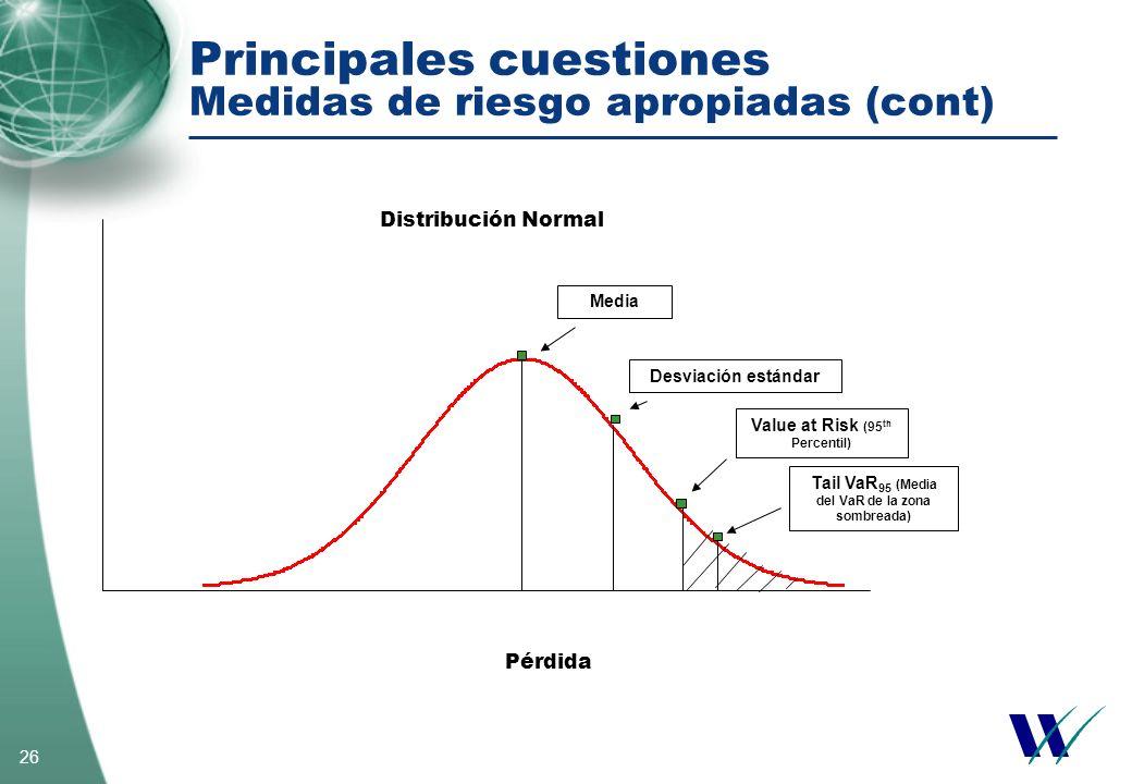 26 Principales cuestiones Medidas de riesgo apropiadas (cont) Distribución Normal Pérdida Media Desviación estándar Value at Risk (95 th Percentil) Ta