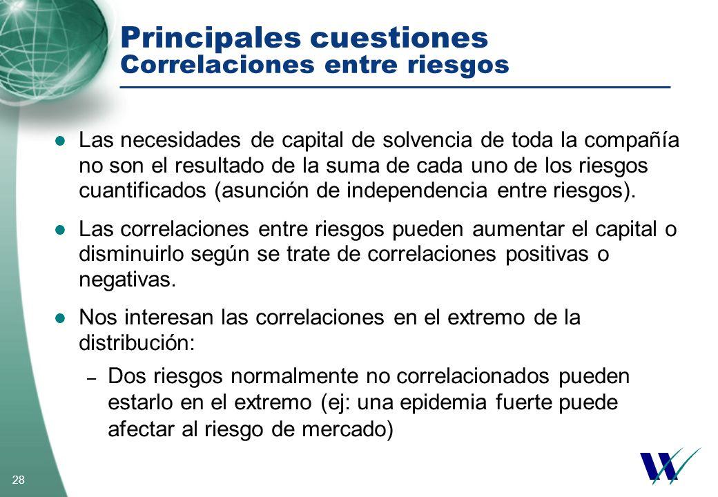 28 Principales cuestiones Correlaciones entre riesgos Las necesidades de capital de solvencia de toda la compañía no son el resultado de la suma de ca