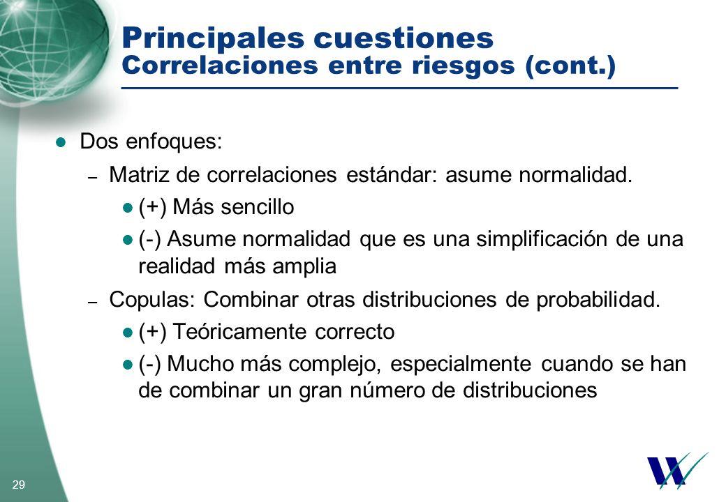 29 Principales cuestiones Correlaciones entre riesgos (cont.) Dos enfoques: – Matriz de correlaciones estándar: asume normalidad. (+) Más sencillo (-)