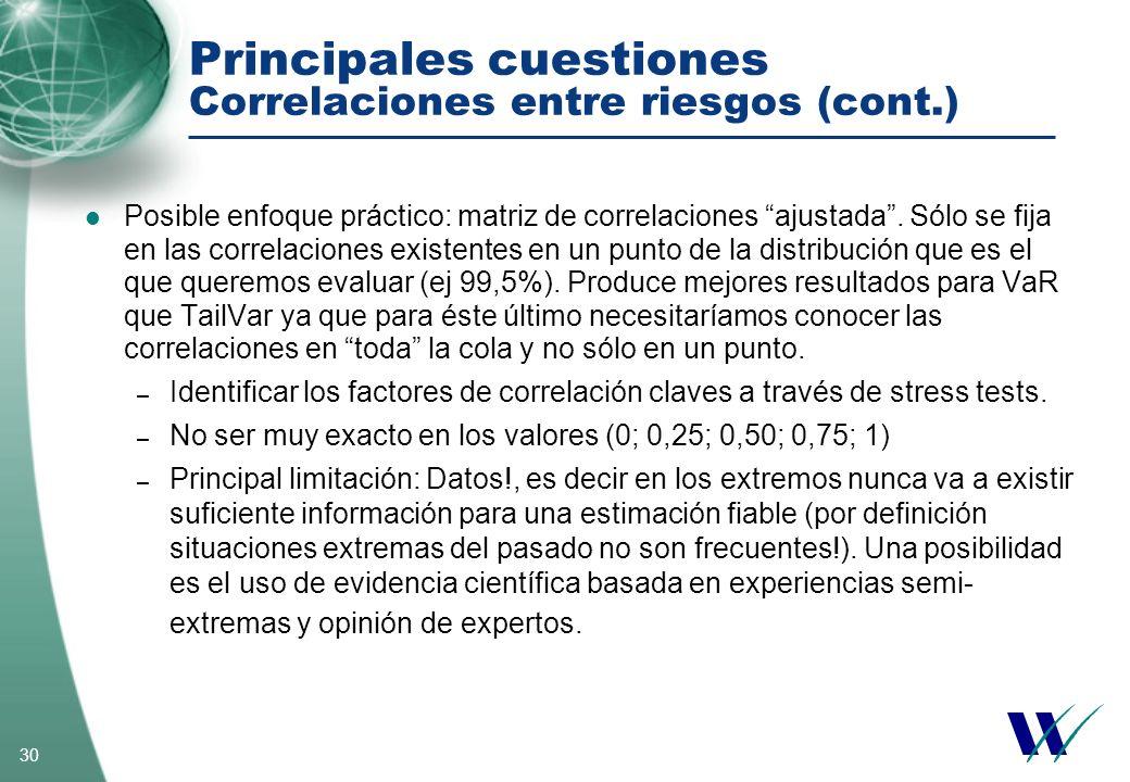 30 Principales cuestiones Correlaciones entre riesgos (cont.) Posible enfoque práctico: matriz de correlaciones ajustada. Sólo se fija en las correlac