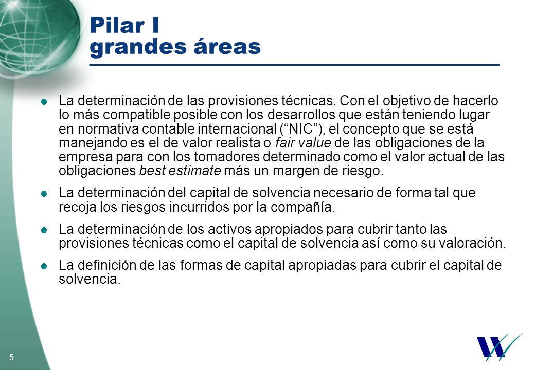 5 Pilar I grandes áreas La determinación de las provisiones técnicas. Con el objetivo de hacerlo lo más compatible posible con los desarrollos que est