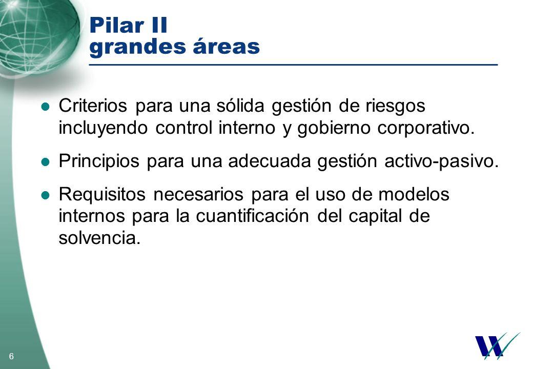 6 Pilar II grandes áreas Criterios para una sólida gestión de riesgos incluyendo control interno y gobierno corporativo. Principios para una adecuada