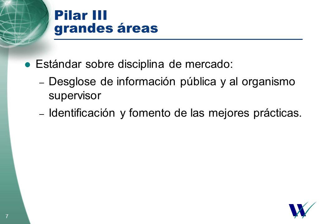 7 Pilar III grandes áreas Estándar sobre disciplina de mercado: – Desglose de información pública y al organismo supervisor – Identificación y fomento