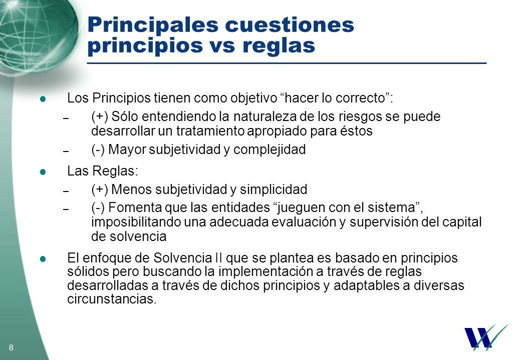 8 Principales cuestiones principios vs reglas Los Principios tienen como objetivo hacer lo correcto: – (+) Sólo entendiendo la naturaleza de los riesg