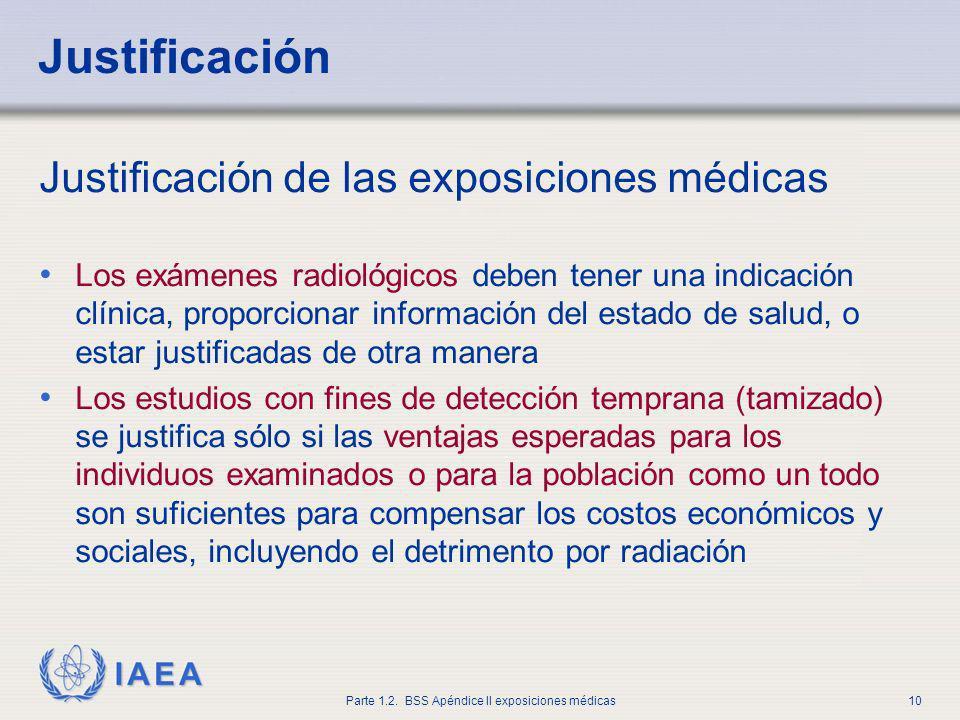 IAEA Parte 1.2. BSS Apéndice II exposiciones médicas10 Justificación de las exposiciones médicas Los exámenes radiológicos deben tener una indicación