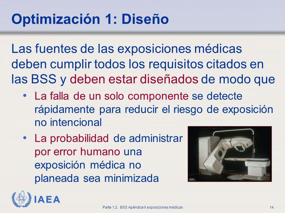 IAEA Parte 1.2. BSS Apéndice II exposiciones médicas14 Optimización 1: Diseño Las fuentes de las exposiciones médicas deben cumplir todos los requisit