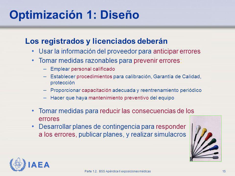 IAEA Parte 1.2. BSS Apéndice II exposiciones médicas15 Los registrados y licenciados deberán Usar la información del proveedor para anticipar errores
