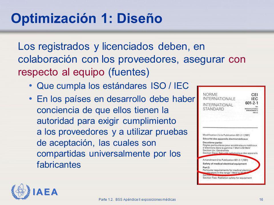 IAEA Parte 1.2. BSS Apéndice II exposiciones médicas16 Los registrados y licenciados deben, en colaboración con los proveedores, asegurar con respecto