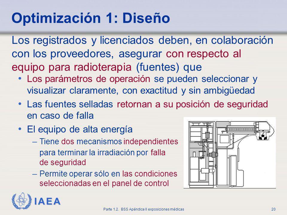 IAEA Parte 1.2. BSS Apéndice II exposiciones médicas20 Los parámetros de operación se pueden seleccionar y visualizar claramente, con exactitud y sin