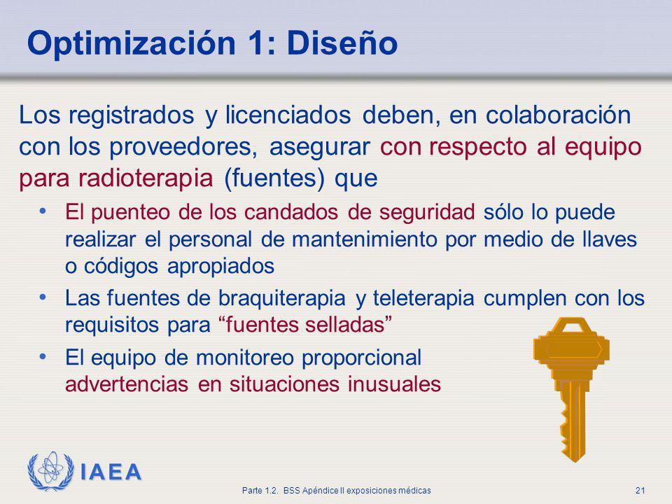 IAEA Parte 1.2. BSS Apéndice II exposiciones médicas21 Los registrados y licenciados deben, en colaboración con los proveedores, asegurar con respecto