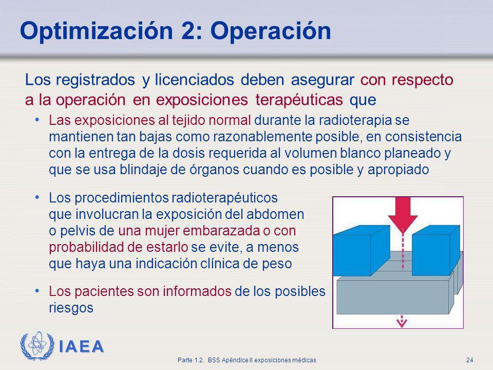 IAEA Parte 1.2. BSS Apéndice II exposiciones médicas24 Los registrados y licenciados deben asegurar con respecto a la operación en exposiciones terapé