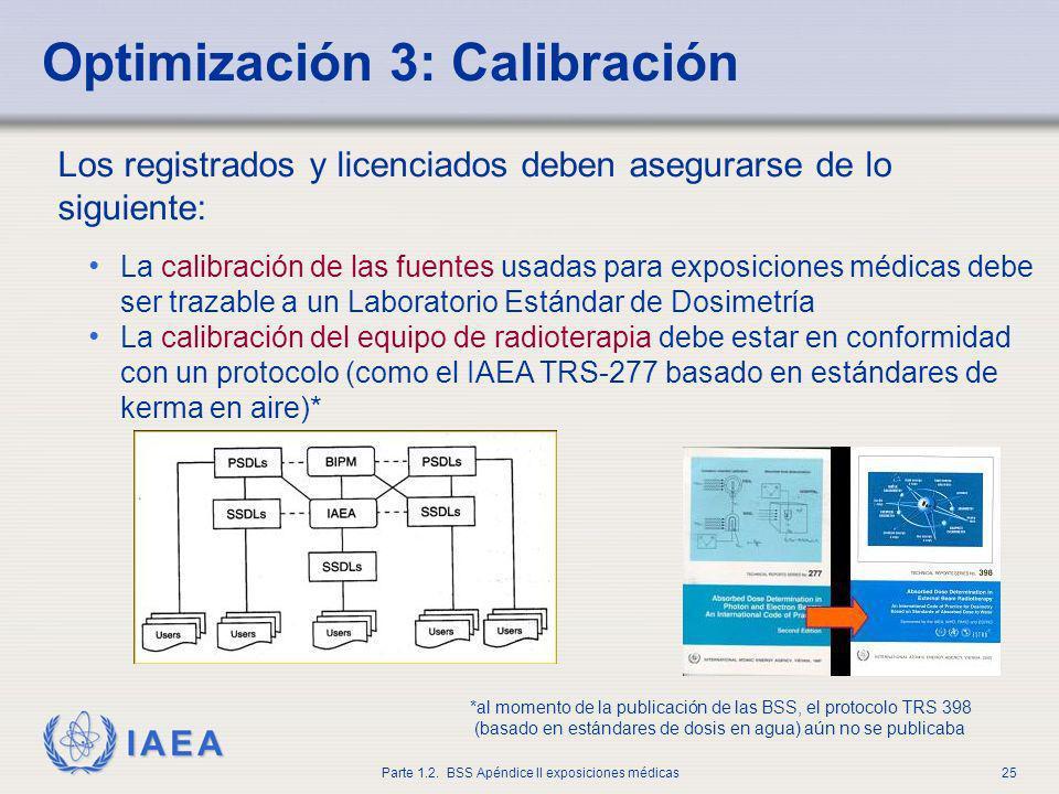 IAEA Parte 1.2. BSS Apéndice II exposiciones médicas25 Optimización 3: Calibración Los registrados y licenciados deben asegurarse de lo siguiente: La