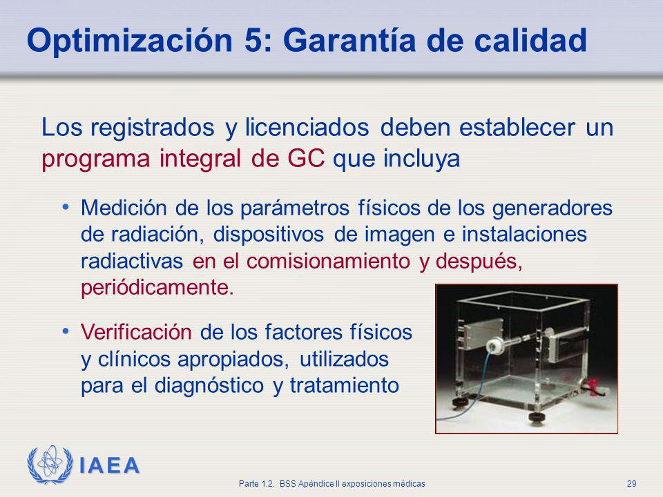 IAEA Parte 1.2. BSS Apéndice II exposiciones médicas29 Optimización 5: Garantía de calidad Los registrados y licenciados deben establecer un programa