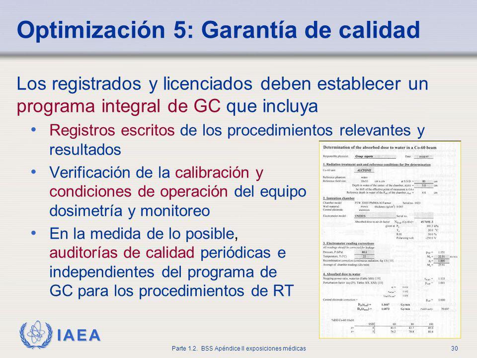 IAEA Parte 1.2. BSS Apéndice II exposiciones médicas30 Optimización 5: Garantía de calidad Los registrados y licenciados deben establecer un programa