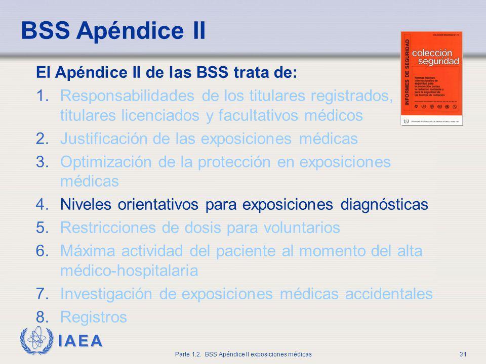 IAEA Parte 1.2. BSS Apéndice II exposiciones médicas31 El Apéndice II de las BSS trata de: 1.Responsabilidades de los titulares registrados, titulares