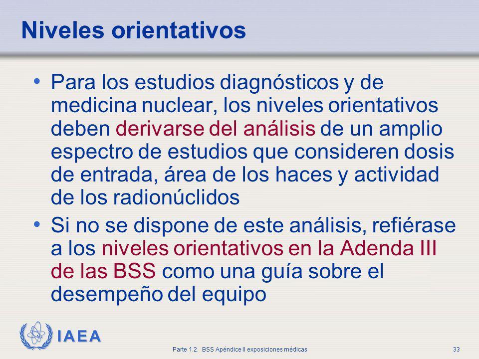 IAEA Parte 1.2. BSS Apéndice II exposiciones médicas33 Niveles orientativos Para los estudios diagnósticos y de medicina nuclear, los niveles orientat