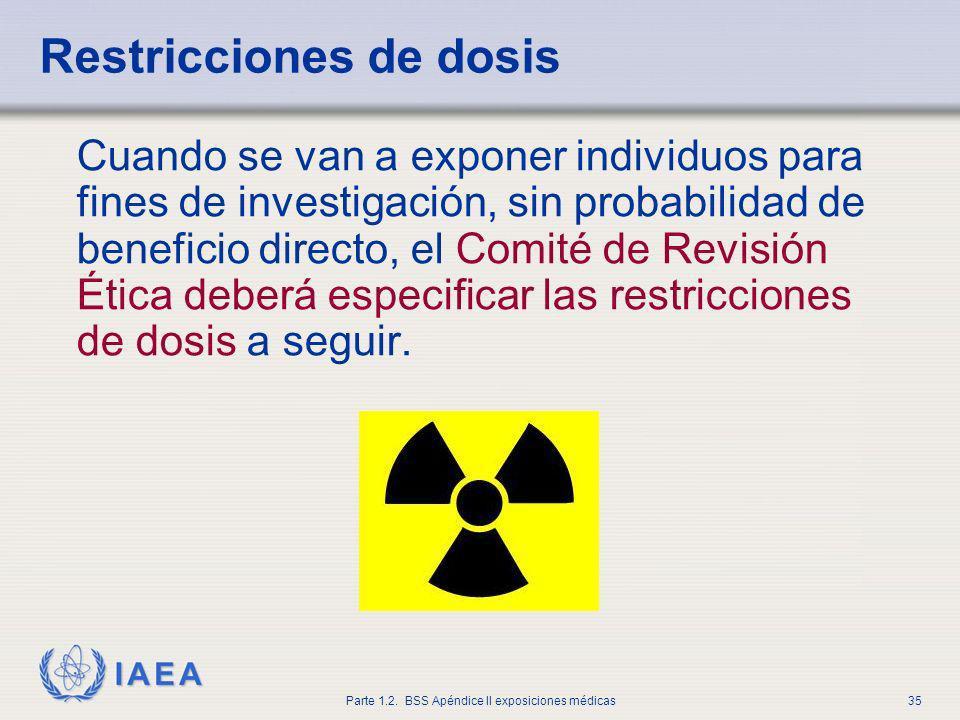 IAEA Parte 1.2. BSS Apéndice II exposiciones médicas35 Restricciones de dosis Cuando se van a exponer individuos para fines de investigación, sin prob