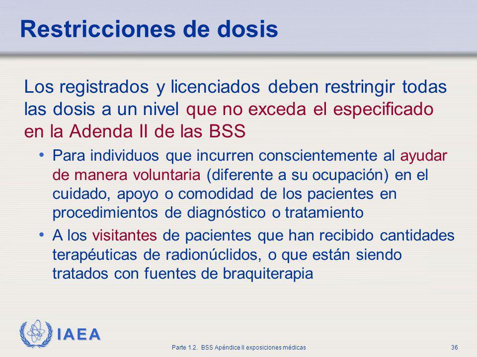 IAEA Parte 1.2. BSS Apéndice II exposiciones médicas36 Restricciones de dosis Los registrados y licenciados deben restringir todas las dosis a un nive