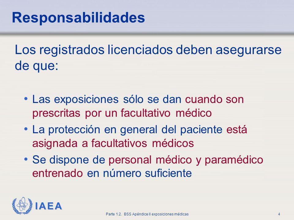 IAEA Parte 1.2. BSS Apéndice II exposiciones médicas4 Responsabilidades Los registrados licenciados deben asegurarse de que: Las exposiciones sólo se