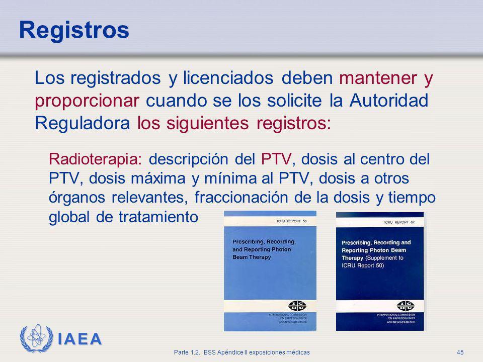 IAEA Parte 1.2. BSS Apéndice II exposiciones médicas45 Registros Los registrados y licenciados deben mantener y proporcionar cuando se los solicite la