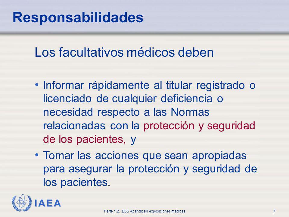 IAEA Parte 1.2. BSS Apéndice II exposiciones médicas7 Los facultativos médicos deben Informar rápidamente al titular registrado o licenciado de cualqu