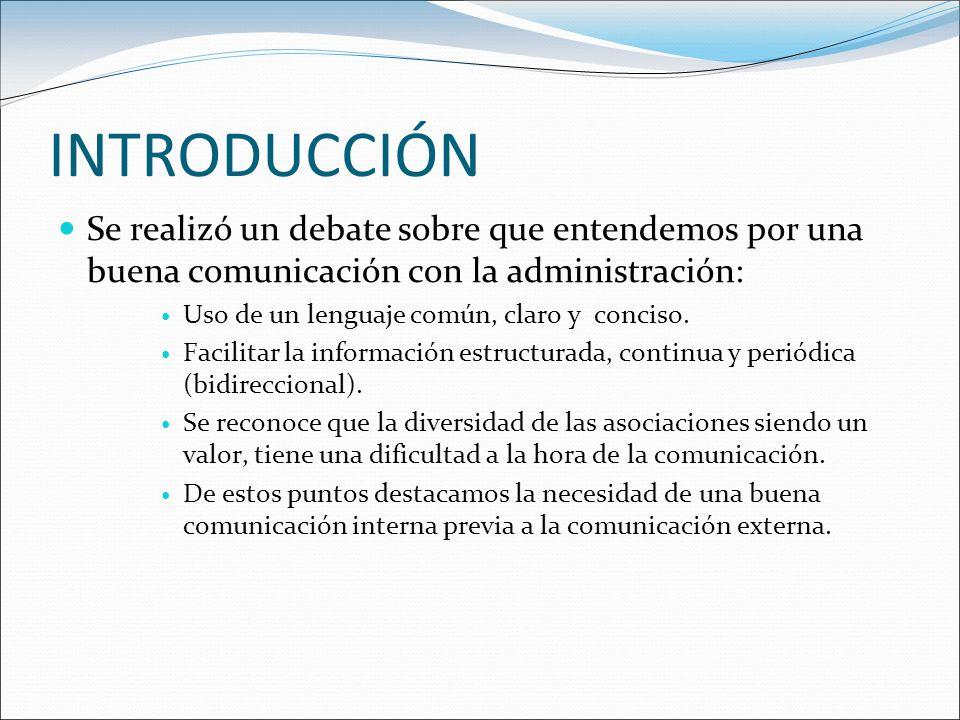 INTRODUCCIÓN Se realizó un debate sobre que entendemos por una buena comunicación con la administración: Uso de un lenguaje común, claro y conciso.