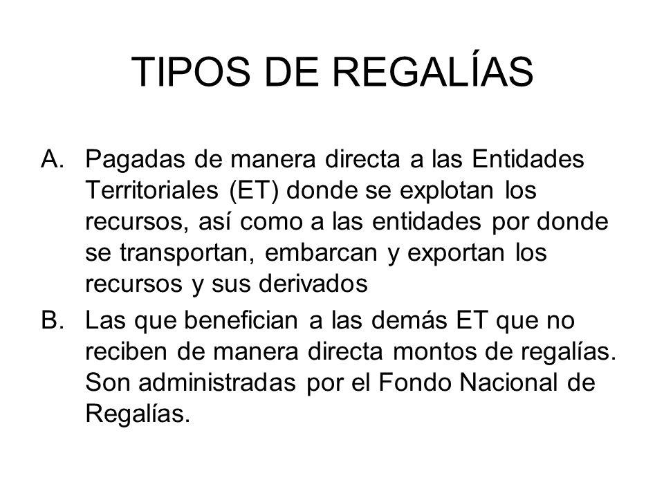 TIPOS DE REGALÍAS A.Pagadas de manera directa a las Entidades Territoriales (ET) donde se explotan los recursos, así como a las entidades por donde se