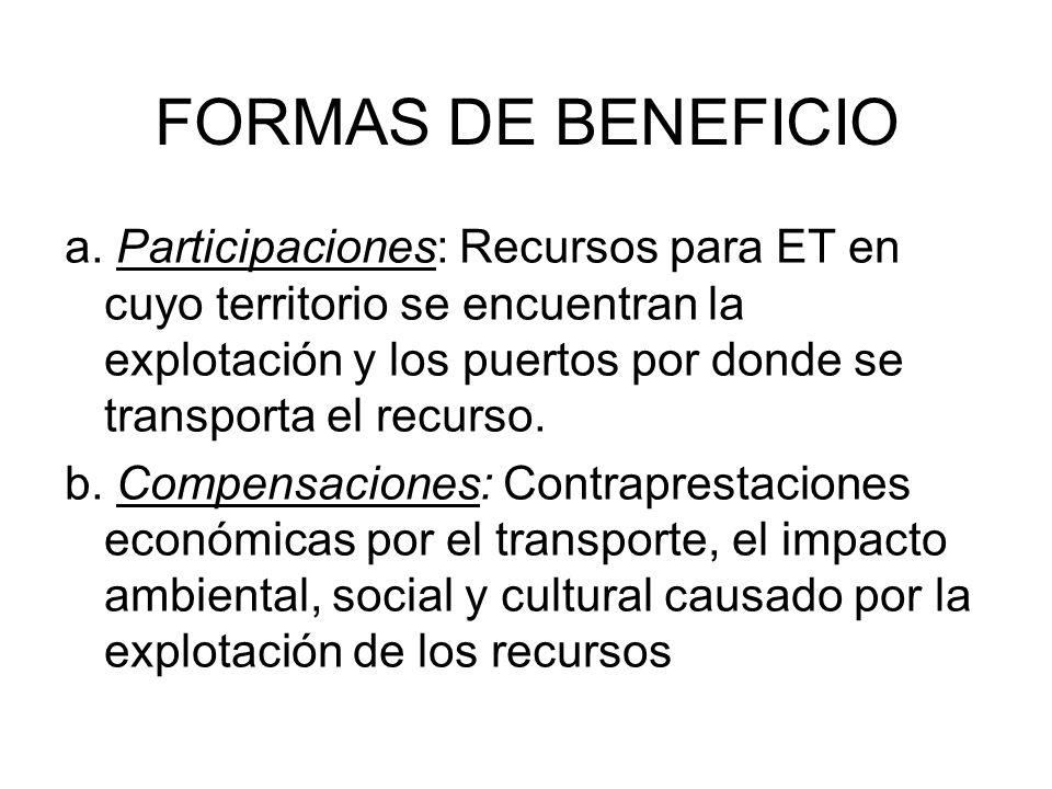 FORMAS DE BENEFICIO a. Participaciones: Recursos para ET en cuyo territorio se encuentran la explotación y los puertos por donde se transporta el recu