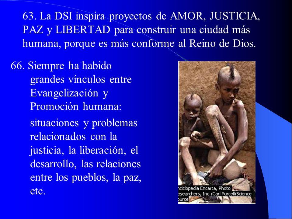 I. Evangelización y DSI 60. La Iglesia es la morada de Dios con los hombres: por esto, el ser humano no está sólo o perdido en su esfuerzo de humaniza
