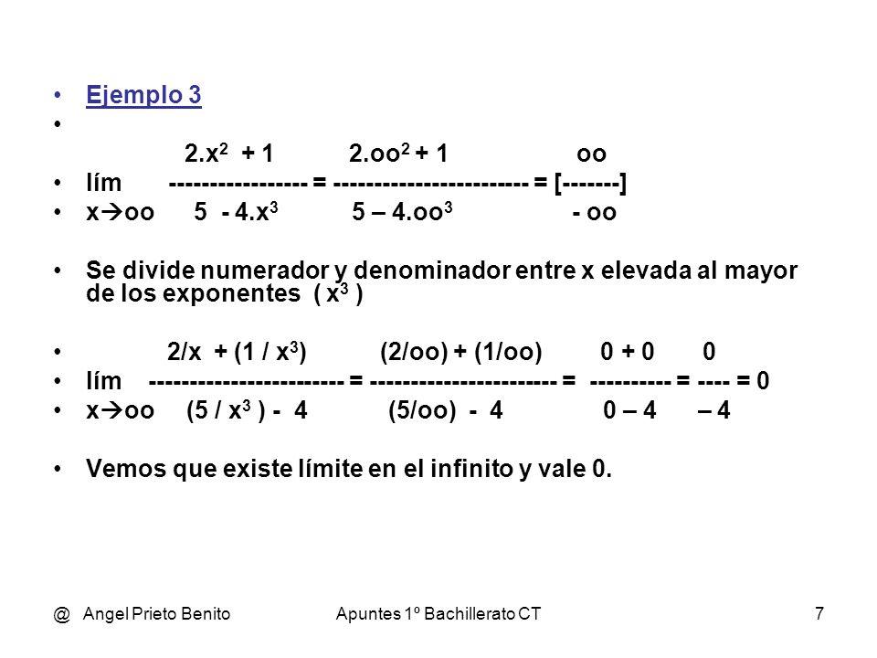 @ Angel Prieto BenitoApuntes 1º Bachillerato CT7 Ejemplo 3 2.x 2 + 1 2.oo 2 + 1 oo lím ---------- = ------------------------ = [-------] x oo 5 - 4.x