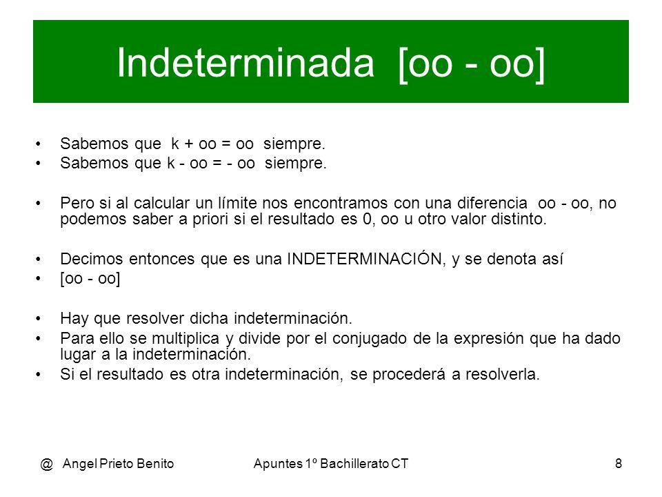 @ Angel Prieto BenitoApuntes 1º Bachillerato CT8 Indeterminada [oo - oo] Sabemos que k + oo = oo siempre. Sabemos que k - oo = - oo siempre. Pero si a