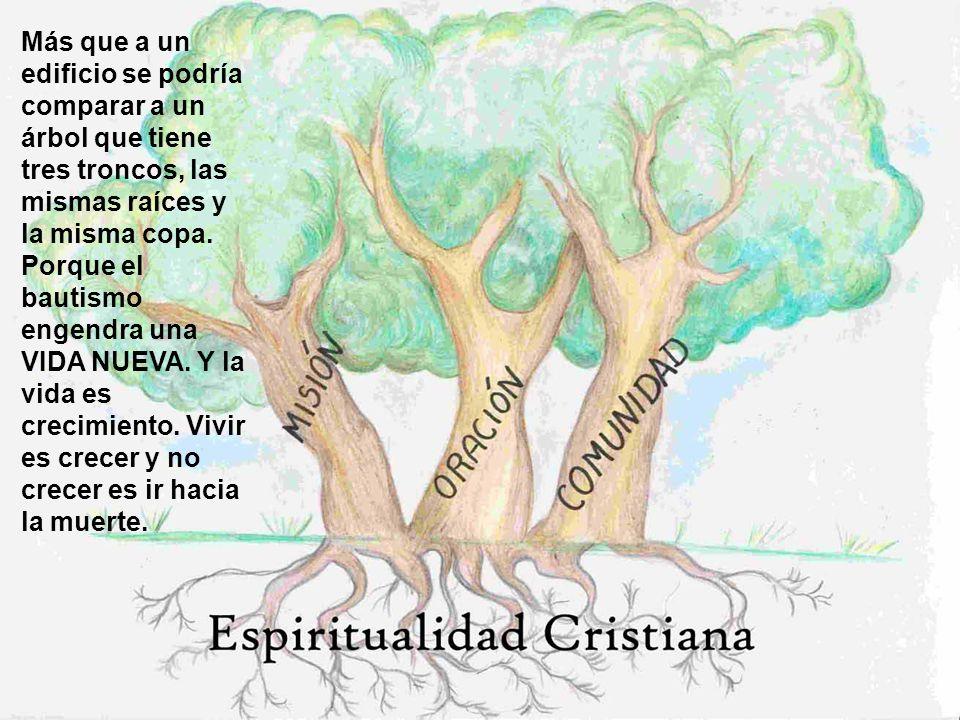 Más que a un edificio se podría comparar a un árbol que tiene tres troncos, las mismas raíces y la misma copa. Porque el bautismo engendra una VIDA NU