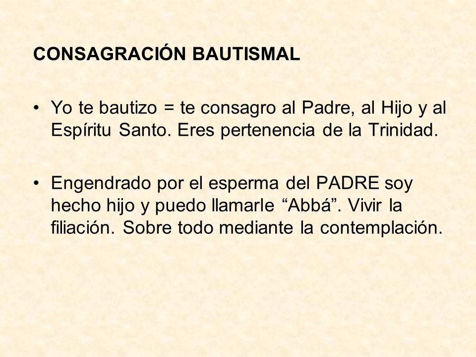 CONSAGRACIÓN BAUTISMAL Yo te bautizo = te consagro al Padre, al Hijo y al Espíritu Santo. Eres pertenencia de la Trinidad. Engendrado por el esperma d
