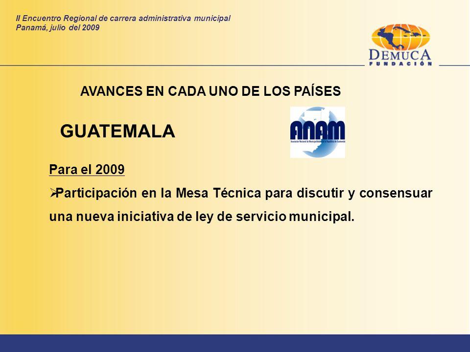 GUATEMALA AVANCES EN CADA UNO DE LOS PAÍSES Para el 2009 Participación en la Mesa Técnica para discutir y consensuar una nueva iniciativa de ley de se