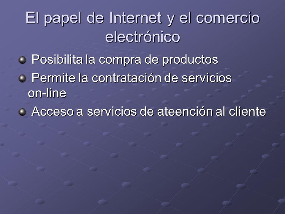 El papel de Internet y el comercio electrónico Posibilita la compra de productos Posibilita la compra de productos Permite la contratación de servicios on-line Permite la contratación de servicios on-line Acceso a servicios de ateención al cliente Acceso a servicios de ateención al cliente