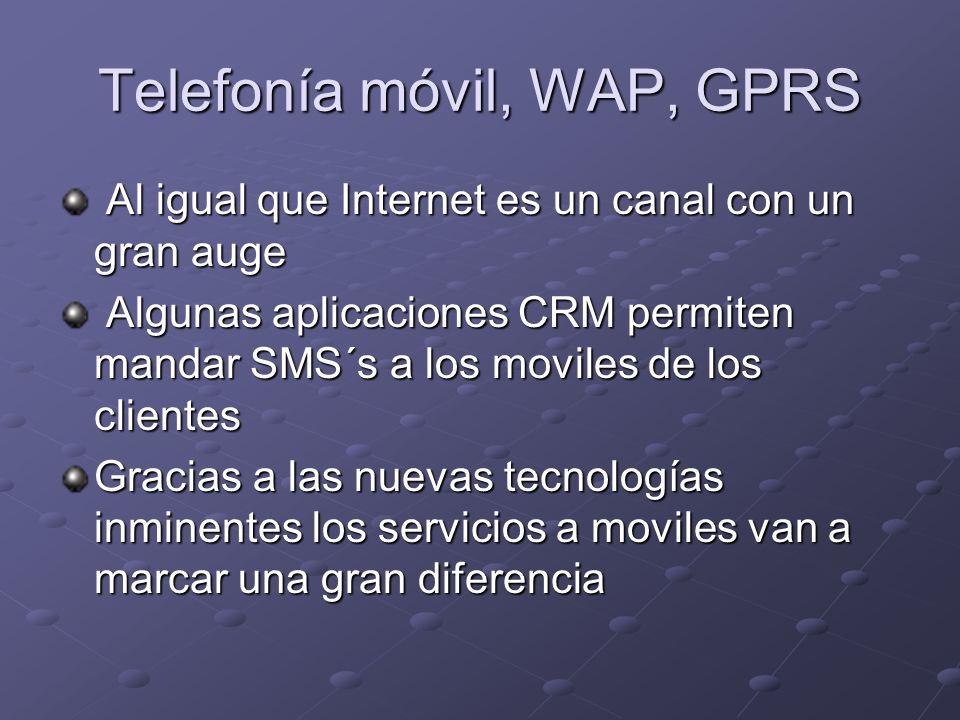 Telefonía móvil, WAP, GPRS Al igual que Internet es un canal con un gran auge Al igual que Internet es un canal con un gran auge Algunas aplicaciones