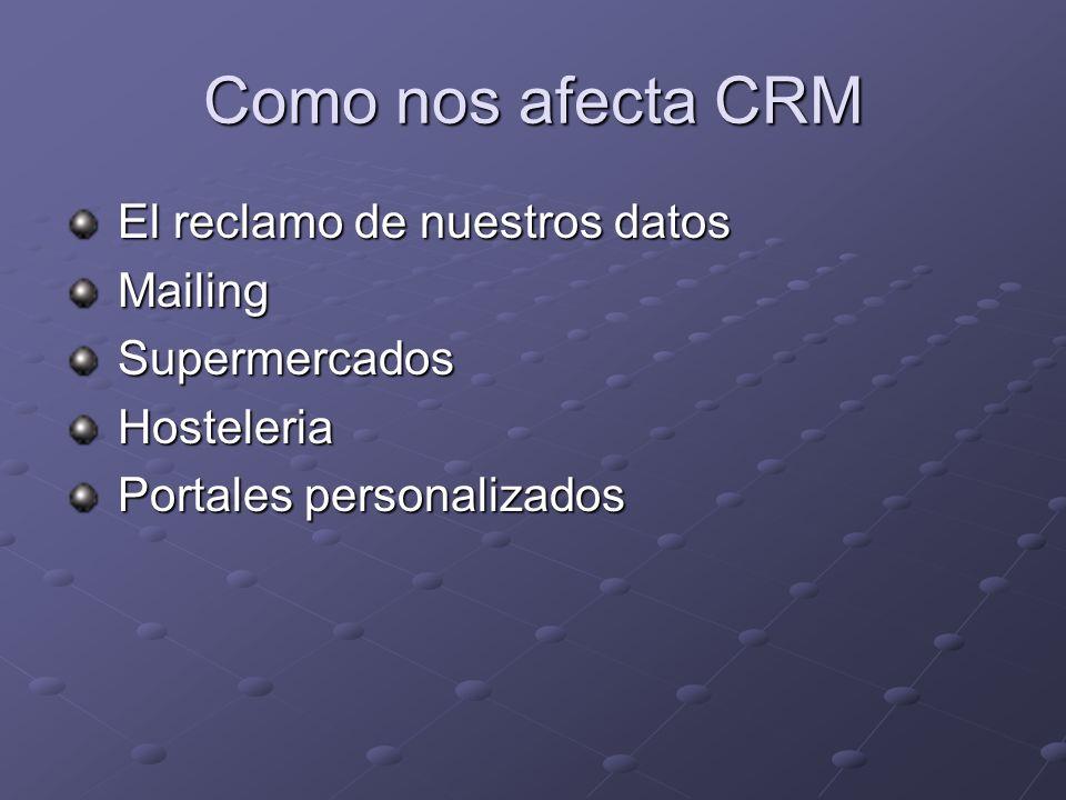 Como nos afecta CRM El reclamo de nuestros datos El reclamo de nuestros datos Mailing Mailing Supermercados Supermercados Hosteleria Hosteleria Portal