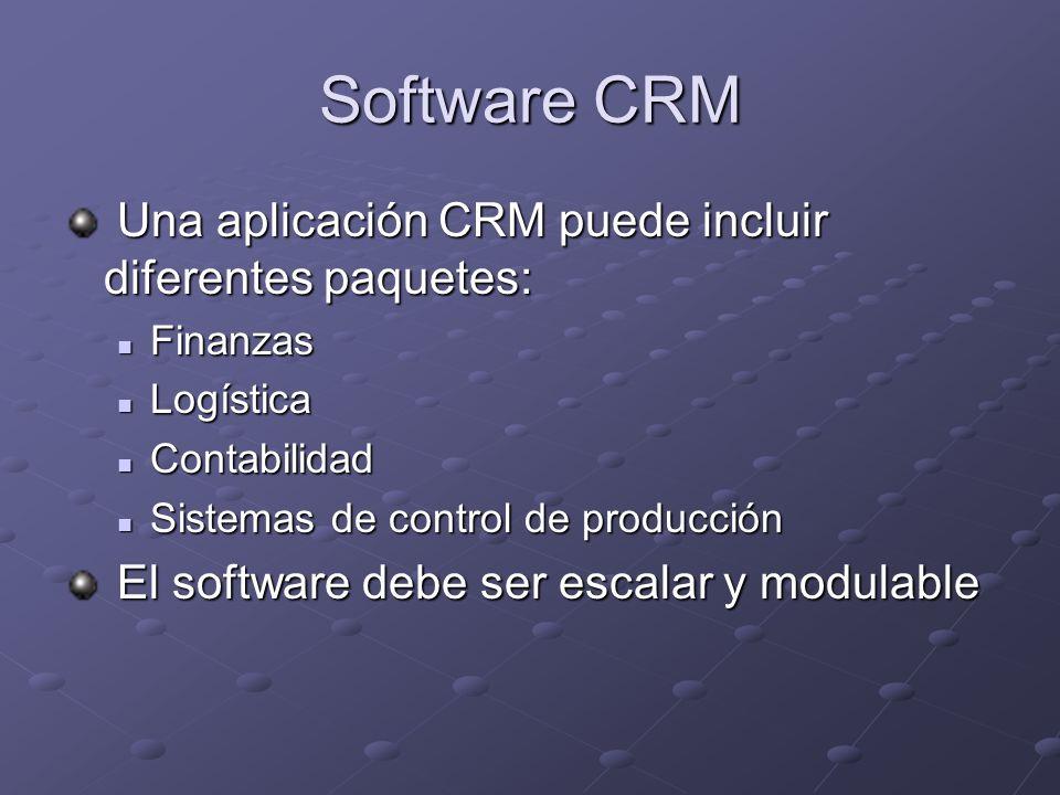 Software CRM Una aplicación CRM puede incluir diferentes paquetes: Una aplicación CRM puede incluir diferentes paquetes: Finanzas Finanzas Logística Logística Contabilidad Contabilidad Sistemas de control de producción Sistemas de control de producción El software debe ser escalar y modulable El software debe ser escalar y modulable