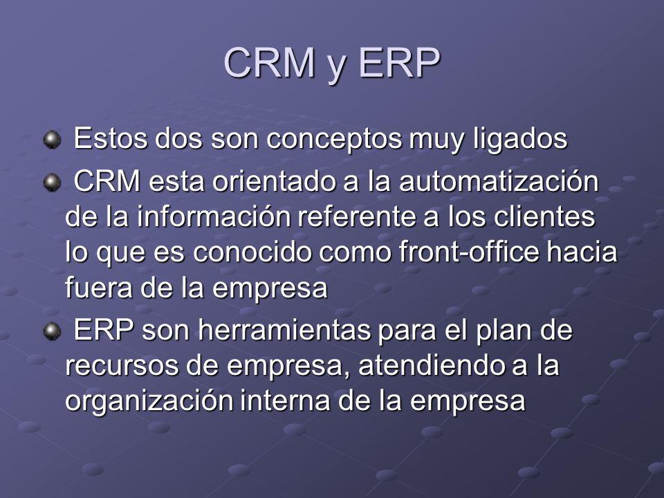 CRM y ERP Estos dos son conceptos muy ligados Estos dos son conceptos muy ligados CRM esta orientado a la automatización de la información referente a