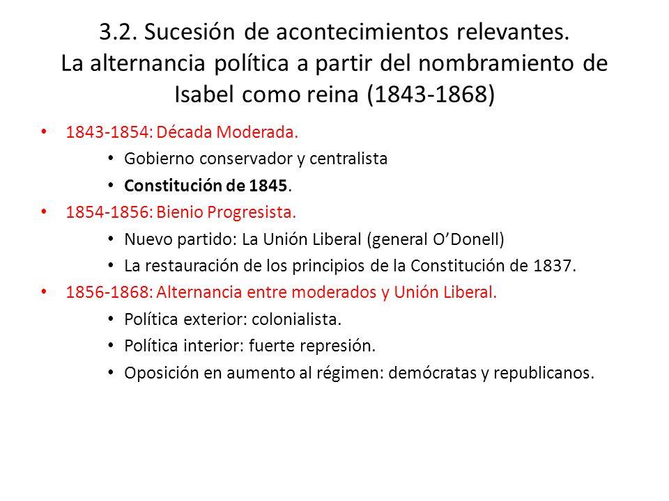 1843-1854: Década Moderada. Gobierno conservador y centralista Constitución de 1845. 1854-1856: Bienio Progresista. Nuevo partido: La Unión Liberal (g