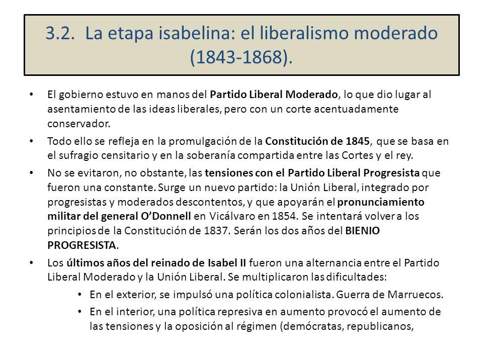 El gobierno estuvo en manos del Partido Liberal Moderado, lo que dio lugar al asentamiento de las ideas liberales, pero con un corte acentuadamente co