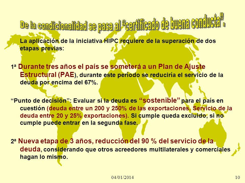 04/01/201410 La aplicación de la iniciativa HIPC requiere de la superación de dos etapas previas: 1ª Durante tres años el país se someterá a un Plan d