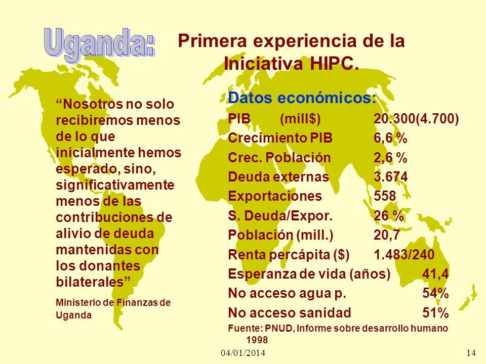 04/01/201414 Primera experiencia de la Iniciativa HIPC. Nosotros no solo recibiremos menos de lo que inicialmente hemos esperado, sino, significativam
