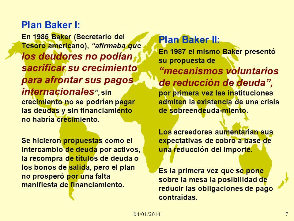 04/01/20147 Plan Baker I: En 1985 Baker (Secretario del Tesoro americano), afirmaba que los deudores no podían sacrificar su crecimiento para afrontar