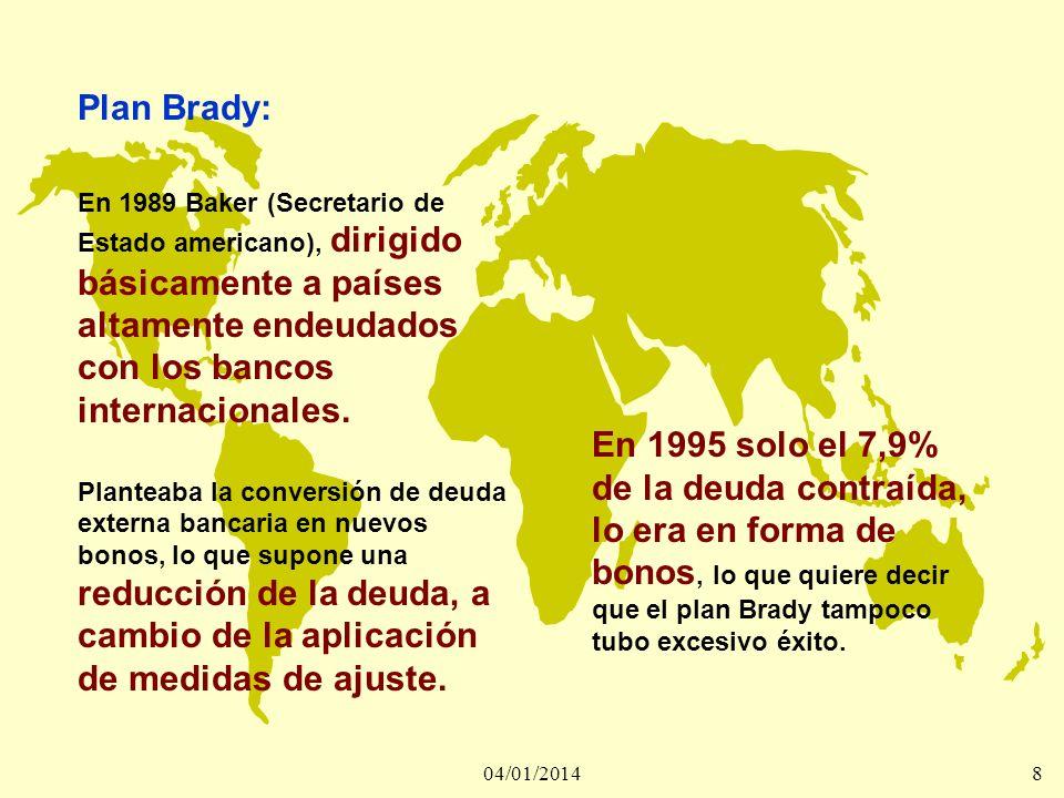 04/01/20148 Plan Brady: En 1989 Baker (Secretario de Estado americano), dirigido básicamente a países altamente endeudados con los bancos internaciona